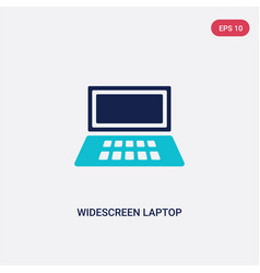 Two color widescreen laptop icon from computer vector