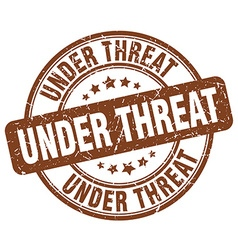 under threat brown grunge round vintage rubber vector image