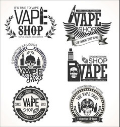vape shop labels retro collection vector image