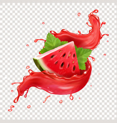 Watermelon in red fresh juice splash realistic vector