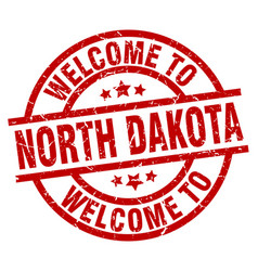 Welcome to north dakota red stamp vector