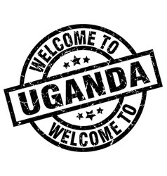 Welcome to uganda black stamp vector