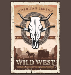 Wild west retro poster bull skull and knives vector