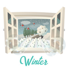 winter season outdoor view on garden or field vector image