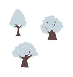 winter trees in snow set with different shapes of vector image