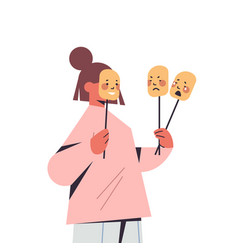 woman holding masks with different emotions fake vector image