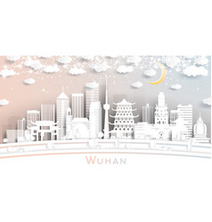 wuhan china city skyline in paper cut style vector image