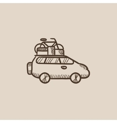 Car with bicycle mounted to the roof sketch icon vector image vector image
