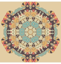 Dim coloured seamless mandala Brown blue and vector image