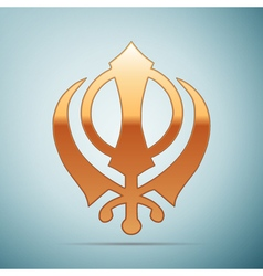 Gold khanda Sikh icon on blue background vector image vector image