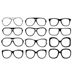 set of different eyeglasses vector image vector image