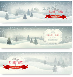 Three christmas landscape banners vector