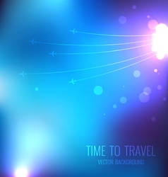 Blue travel background with airplanes vector image