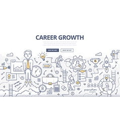 Career Growth Doodle Concept vector image
