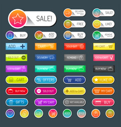 colorful website online shop web buttons design vector image