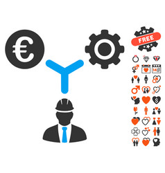 Euro development relations icon with valentine vector