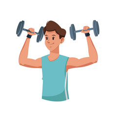 Fitness man weight lifting workout vector