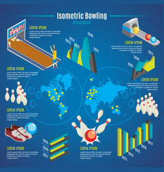 isometric bowling infographic template vector image vector image