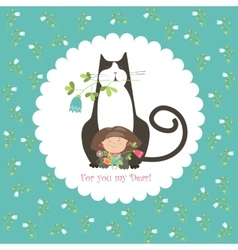 Little girl and her cat vector image vector image