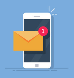 notification of a new email on your mobile phone vector image