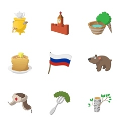 Attractions of Russia icons set cartoon style vector image vector image