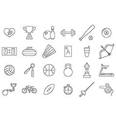 black sports icons set vector image