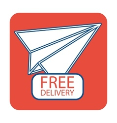 Free delivery icon with paper plane vector image