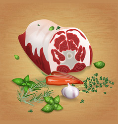lamb neck with tasty sauces and spices vector image