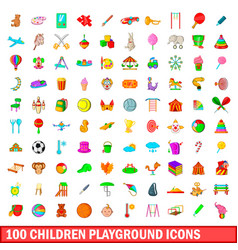100 children playground icons set cartoon style vector image vector image