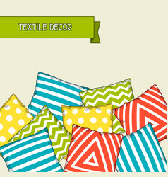 backround with multicolored decorative pillows vector image vector image
