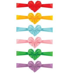 color bow heart shape 380 vector image vector image