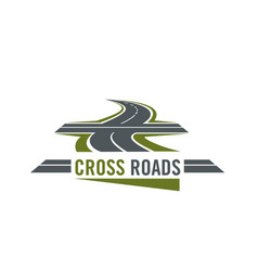 cross road symbol with highway and cross ways vector image vector image