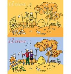 family landscape autumn vector image