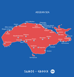 island of samos in greece red map vector image vector image