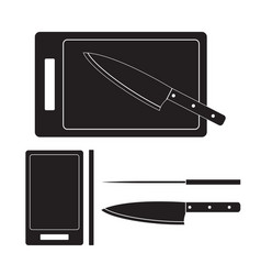 knife and cutting board icon flat vector image vector image