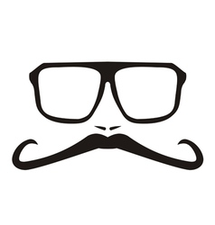 Men face with long mustache and big glasses vector image vector image