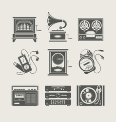 musical device set of icon vector image vector image