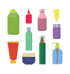 set of color cosmetic bottle beauty spa vector image vector image