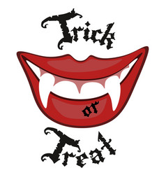 sexy halloween vampire mouth with blood and teeth vector image