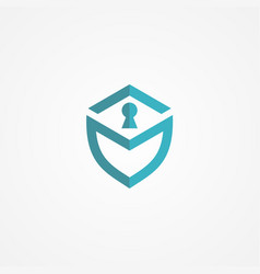 shield lock security logo vector image