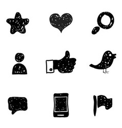 Sketch Social Media icons vector image vector image