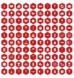 100 food icons hexagon red vector