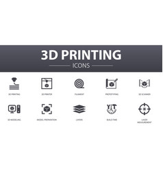 3d printing simple concept icons set contains vector