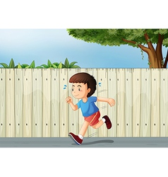 A little boy running at the road vector