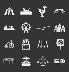 amusement park icons set grey vector image