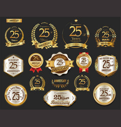 anniversary golden laurel wreath and badges 25 vector image