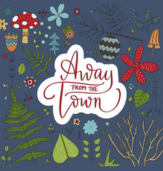 away from the town lettering card vector image