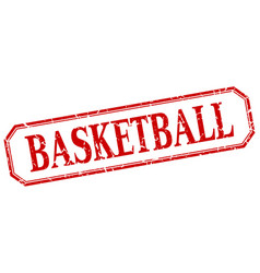 Basketball square red grunge label vector