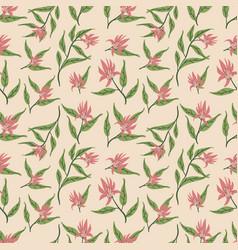 beautiful wild flowers textile pattern design vector image