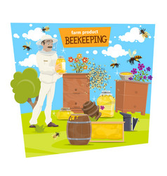 beekeeping farm and beekeeper with honey vector image